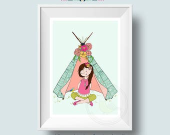 Nature Girl Art Print - Choose skin & hair colour - Girls Room Print for a nature loving child