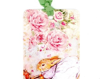Rabbit Gift Tags , Beatrix Potter Tags , Shabby and Chic Roses , Pink Tags , Pink and Green Tags , Vintage Rabbit , Baby Shower Tags