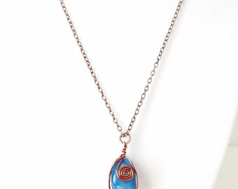 Copper Wire Wrapped Teal Blue agate Pendant Necklace  accented with minimalist Copper Chain