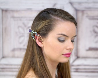 Elf Ear Cuff, Antique Brass, Freshwater Pearls , Elven Jewelry, Elf Ears, Peacock, Water Fae, Fairy Ear Cuff, Amethyst, Natural Pearls