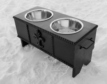 Black Raised Dog Feeder Bowl Holder Feeding Stand French Modern Pet Decor Custom