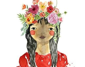 Floral Art, Floral Watercolor,Portrait , Garden art, Flowers Illustration,Gardening Gift, Art, floral Wall Art