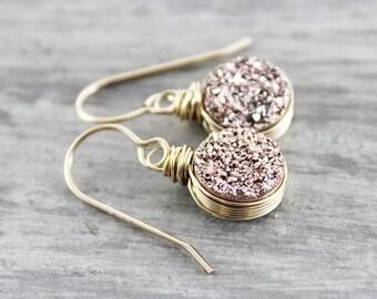 Rose Gold Earrings, Gold Druzy Earrings, Drusy Gold Earrings, Circle Drop Earrings, Wire Wrapped Earrings, Gold Dangle Earrings