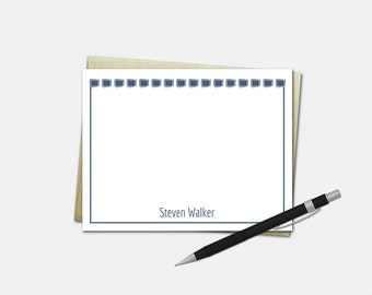 Personalized Boxed In Note Cards - Set of 10 - Flat Note Cards - 50 Color Choices - Stationery for Men - Gifts for Men - Boxed In Stationery