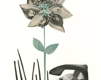 Ironweed.   Original collage by Vivienne Strauss.
