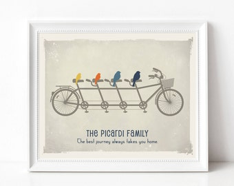 Family Bicycle Gift Print - Personalized Family Tree Print - Birds on a Bike Custom Family Sign - As Seen In Pregnancy and Newborn Magazine