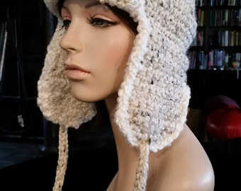 hand crochet russian trapper bomber aviator Hat womens hat womens accessories pilot fur hat  - oatmeal- shorter ear flaps - Made to ORDER