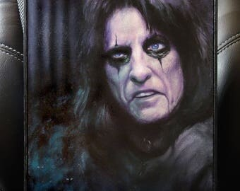 "ORIGINAL Alice Cooper oil painting, 9x12"", oil on panel, shock rock music art portrait"