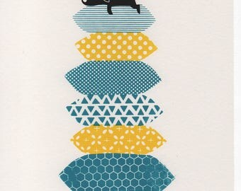 Dozy Dog in the Sun - Spring colourway - 3 colour A4 screen print