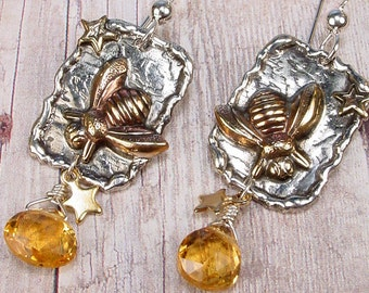HONEY BEE - Totem Sterling Silver Earrings With Citrine Briolettes