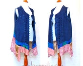M- Plus Sizes ~ Daisy Buchanan Retro Relic Drop Waist Tunic Duster Vest gypsy handmade hippie boho chic wearable art wear lagenlook upcycled