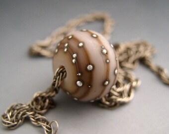 Naos Glass Rustic Pink Mint Focal Made To Order Handmade Lampwork Bead SRA Artisan Glass Bead Powder Pink Caramel Fine Silver Dots
