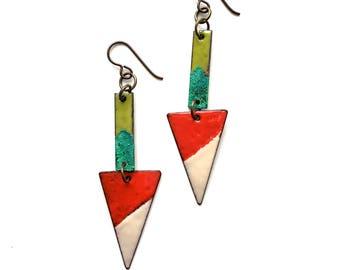 Colorful Geometric Enamel Earrings