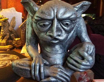 Vintage Large Demon Gargoyle Monster Statue, Solid and Heavy