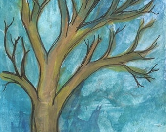 Blue Sky Bare Tree Watercolor Ink Original Painting Wash Bare Burch Tree Art Pay It Forward