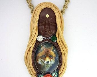 Fox Necklace - Fox Pendant - Fox Totem Necklace - Animal Totem - Spirit Animal - Goddess Necklace - Fox Jewelry - Clay Goddess - Medicine