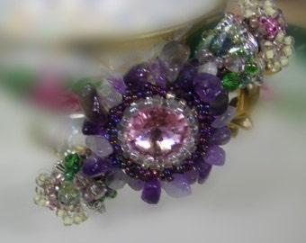 Storybook Arabesque bangle cuff bracelet with rivioli and crystals birds flowers and lacy raw beadwork