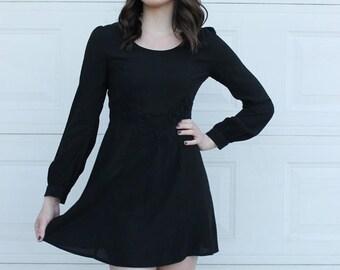 Vintage Black Dress, Retro Black Dress, Vintage LBD, Black Vintage Dress, Long Sleeve Vintage Dress, Long sleeve black dress