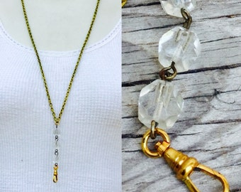 Vintage lanyard clear crystal glass *BULK DISCOUNT* Rosary style  chain  glass Necklace Charm holder supplies c26