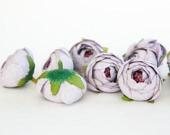 10 Small Vintage Inspired Ranunculus Buds in Periwinkle Purple - silk artificial flower, millinery flower - ITEM 01012