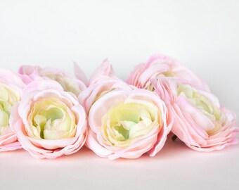 Silk Artificial Flowers - set of 9 Ranunculus in Pink and Lime - Silk Artificial Flowers - read description - ITEM 0357