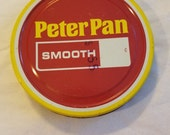 vintage advertising peter pan smooth peanut butter lid metal tin big mouth mason grocery packer yellow red screw cap store peanutbutter