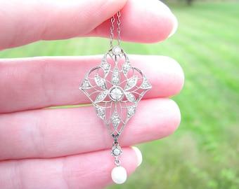 Edwardian Diamond Platinum Pendant Necklace, Sparkly Old European Cut Diamonds with Exquisite Filigree, Pearl Drop, Antique Circa 1910