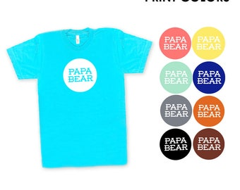 Papa Bear Aqua TShirt - Father's Day, Gift for Dad, New Daddy, Family Photos, Modern Simple Text Graphic, Expecting