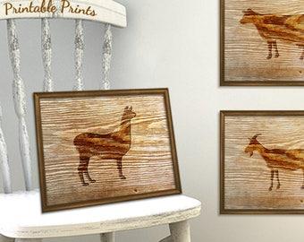 Llama Rustic Wall Print - Digital Art Print - Faux Barn Wood Background - Wood Burned Farm Llama - Digital Art Print - Printable Art Print