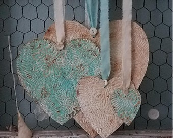 Tiffany Hearts – Faux Tin Ceiling Tile Set of Hearts for Valentine's Day, Wedding, and Home Decor