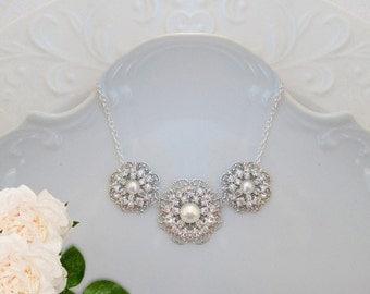 Bridesmaid jewelry, Bridesmaids Gift, Pearl Jewelry, Nice Bridesmaid Gift, Jewelry gift, Silver crystal pearl necklace, bridesmaid gift idea