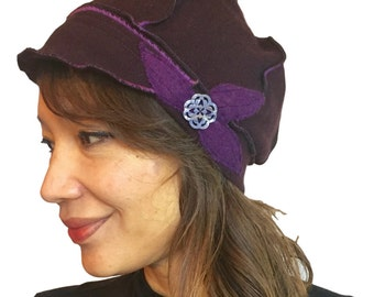 100% Cashmere Upcycled Hat with Flower - Dark eggplant with purple - womens, knit, newsboy cap, upcycled, eco-friendly
