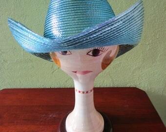 Shiny Blue Lurex Frank Olive Neiman Marcus Straw Cowgirl Hat Rhinestone Sun Derby Church Easter