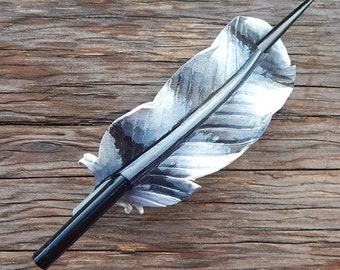 Coopers Hawk Leather Feather Barrette with Black Wooden Hairstick - Medium Barrette, Hair Slide or Shawl Pin in Black, Gray and White
