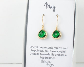 Tiny May Birthstone Gold Earrings, Emerald Gold Drop Earrings, May Birthstone Emerald Gold Earrings, Bridesmaid Earrings, Gold Earrings