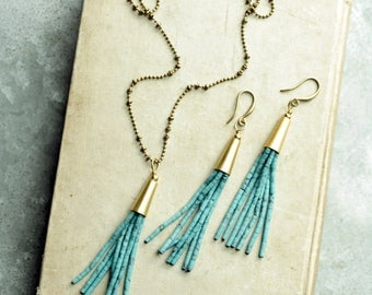 Tassel Necklace and Earrings Set, Choose a Tassel Color
