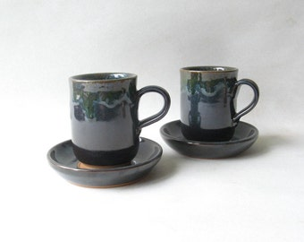 Pottery Cups with Saucers Set of 2, Cortado Cups Set of 2, Small Handmade Cups, Set of Ceramic Cups 7 oz