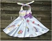 Unicorn Pony Girl Dress, Rainbow & Stars Unicorn Pony Birthday GIrl Dress, Unicorn Birthday Party Dress, Unicorn Girl Outfit