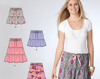 OOP Misses Pull On Skirt in Two Lengths Simplicity 2214 Sew Simple Pattern Regular and Plus Size 8-18 UNCUT