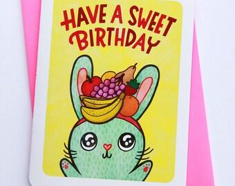 Have a Sweet Birthday Bunny -cute birthday card for kid friend birthday card for her best friend birthday card funny bunny birthday card