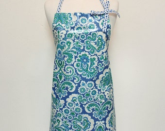 Audrey Ladies Apron in Blue Laminate