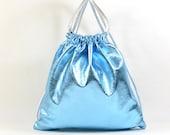 Ella - Handmade Metallic Blue Leather Drawstring Backpack Bag RESERVED
