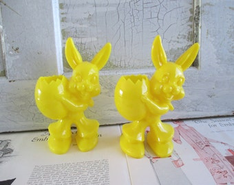 Pair of Vintage Plastic Yellow Bunny Candy Holders