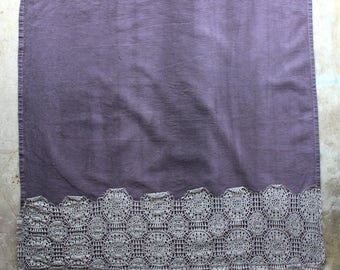 Eggplant Hand Dyed Tea Towel with Lace Trim - Vintage Style Tea Towel - Purple and Grey Dish Towel