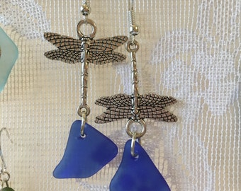 Teal cobalt blue sea glass dangle earrings on dragonfly charms jewelry