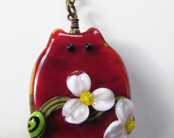 Cat - Red Lampwork Cat and Swarovski Crystal Antiqued Brass Chain Necklace - 25 inches