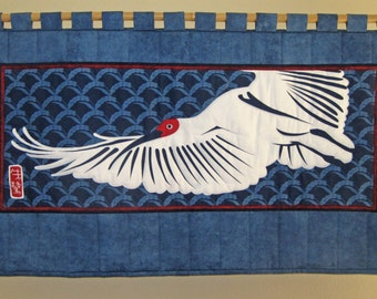 Wall Hanging Quilt Japanese Crested Ibis Design Horizontal Size