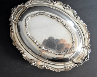 Ornate Silver Plated Covered Entree Serving Bowl Casserole with Lid -Dish with Ornate Cover Silveplated Fruit Platter Flowers Floral