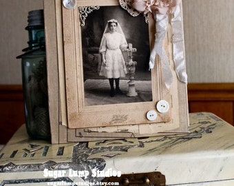 FAITH Altered Mixed Media Art with antique communion cabinet card and mother of pearl buttons