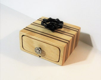 Puzzle Box With Secret Drawer Made From Two Woods
